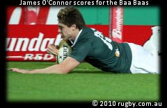 James O'Connor scored three tries for the Baa Baas