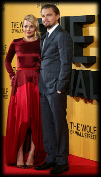 Margot Robbie Leonardo Dicaprio The Wolf on Wall St premiere