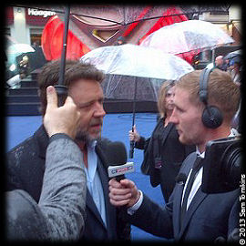 Russell Crowe Sam Tomkins Man of Steel Premiere