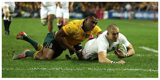 Wallabies England Mike Brown try Test 3 Summer 2016